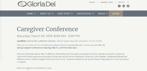 Gloria Dei Caregiver Conference