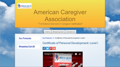 American Caregiver Association-Certificate of Personal Development-Level I-min