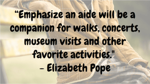 Emphasize an aide - Elizabeth Pope
